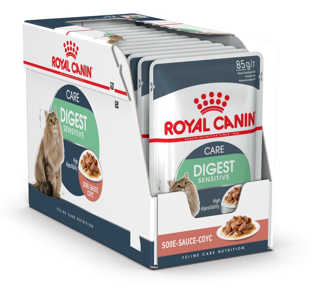 Влажный корм для кошек с чувствительным пищеварением Royal Canin Digest Sensitive в соусе блок 85 г*12 шт.