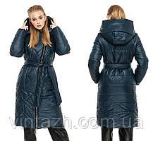 Удлиненная женская куртка пуховик с капюшоном