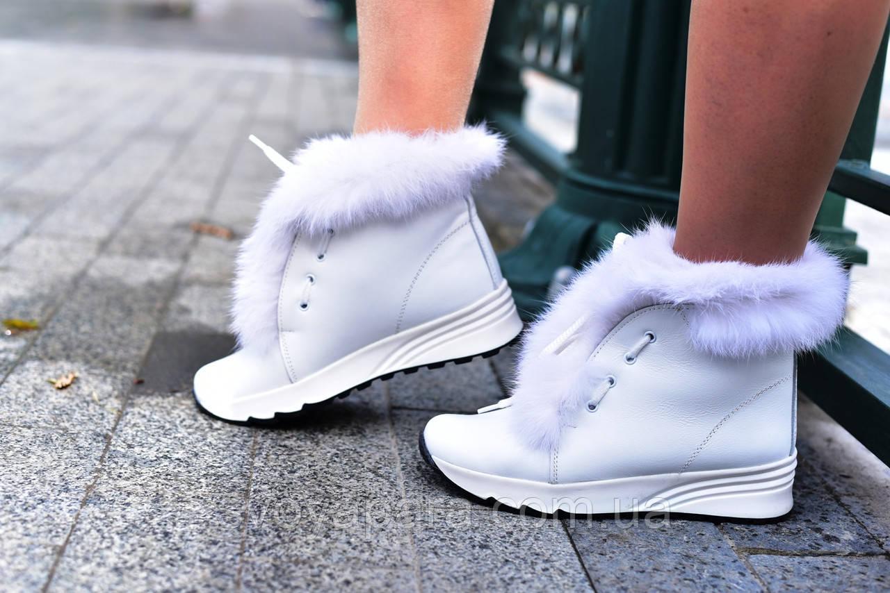 Женские зимние ботинки белые кожаные с опушкой (100174)