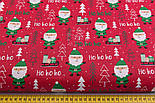 "Отрез новогодней ткани  ""Дед Мороз хо-хо-хо"" на красном, №2469 размер 77*160, фото 3"