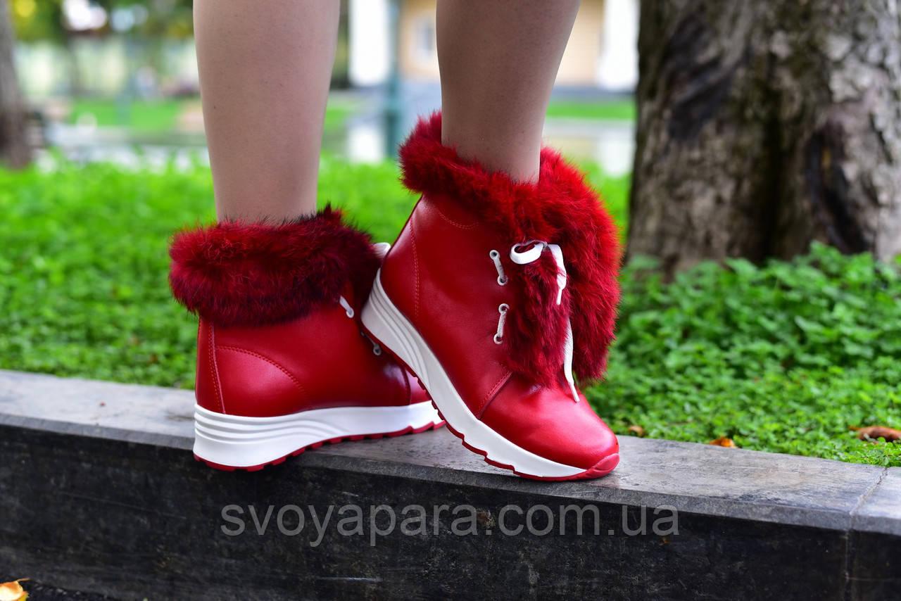 Женские зимние ботинки красные кожаные с опушкой (100175)