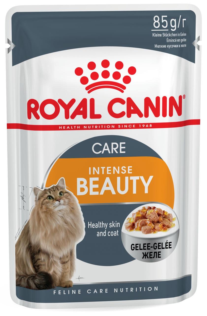 Влажный корм для кошек для здоровой кожи и красивой шерсти Royal Canin Intense Beauty в желе 85 г