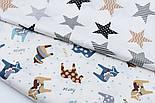 """Отрез сатина """"Геометрические звёзды"""" серые, коричневые, чёрные на белом, № 1693с, размер 75*160, фото 5"""