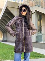Женское пальто из экомеха с отстегивающимися рукавами Banderas коричневое  3028