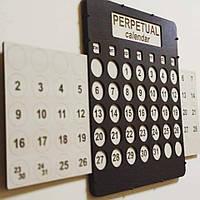 Настенный вечный календарь Вечный календарь Деревяный календарь Декор Цвет коричневый Календарь в офис 35 см