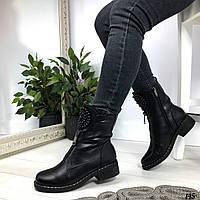Женские ботинки со стразами черные эко-кожа ЗИМА