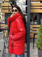 Зимняя женская куртка с капюшоном красного цвета Melandi, био-пух, размеры: 42, 44, 46, 48. Артикул М988