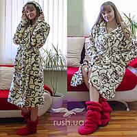 Махровый халат женский длинный с узором, фото 1
