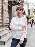 Женский мягкий теплый шерстяной свитер с узором косы на рукавах (в расцветках), фото 2