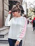 Женский мягкий теплый шерстяной свитер с узором косы на рукавах (в расцветках), фото 3