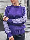 Женский мягкий теплый шерстяной свитер с узором косы на рукавах (в расцветках), фото 9