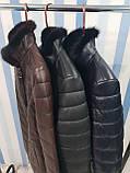 Жіноча шкіряна куртка утеплена, фото 6