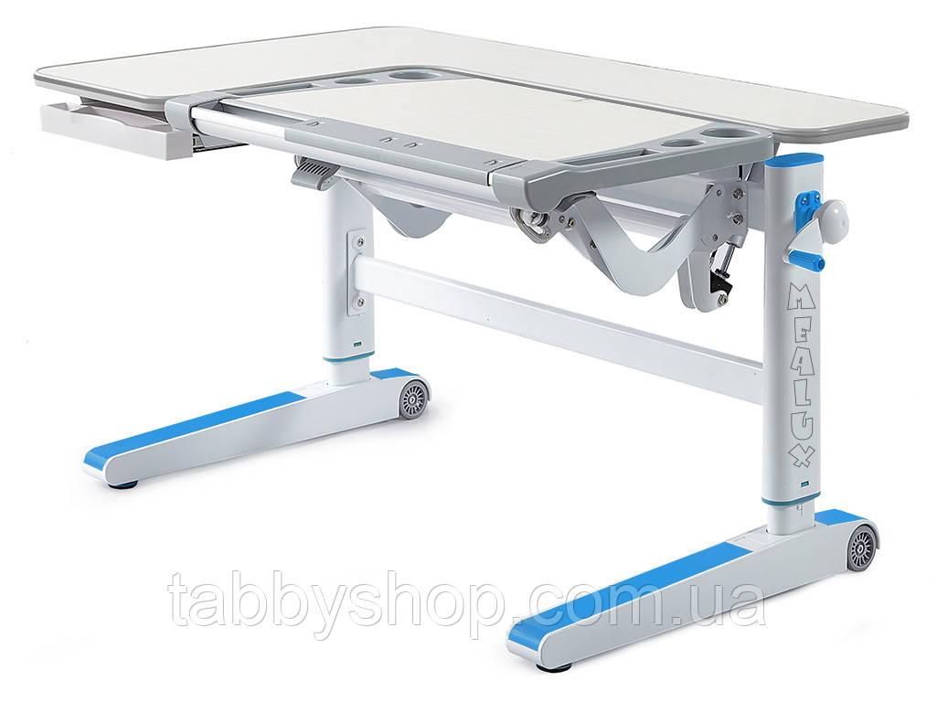 Детский стол Mealux Kingwood TG/BL (столешница береза / накладки голубые)