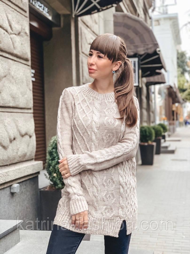 Женский теплый шерстяной свитер-туника (в расцветках)