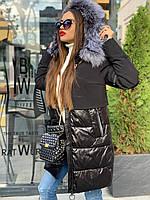 Женская зимняя куртка черного цвета, капюшон с мехом чернобурки, Lims арт.19-197, размеры: S, M, L, XL.