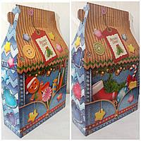 Новогодняя коробка на конфеты Джинс новогодний домик
