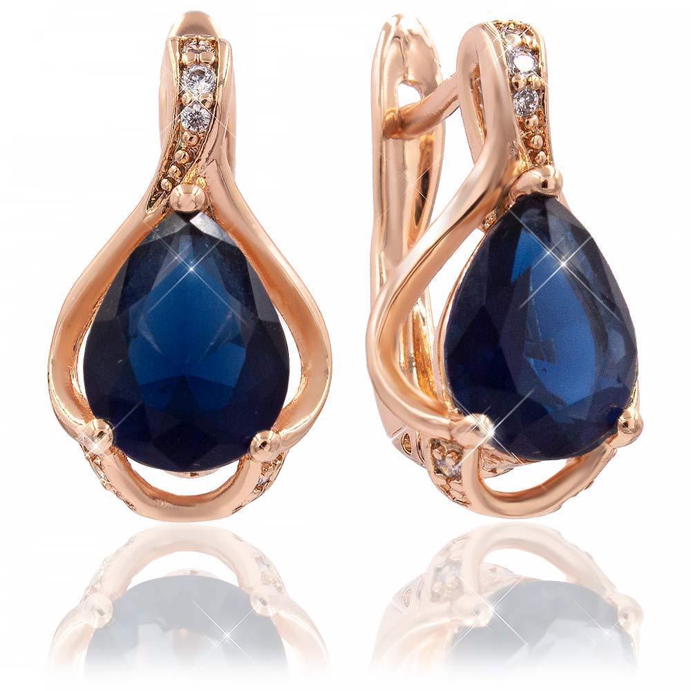 Серьги классические — позолота, синий