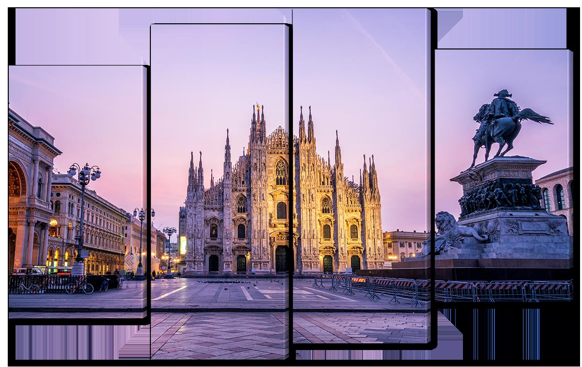 Модульная картина Interno Эко кожа Миланский собор 46x89см (A4676XL)
