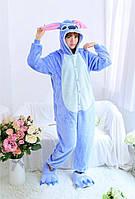 Піжама кигуруми комбінезон тепла качетственная блакитний Стіч, фото 1