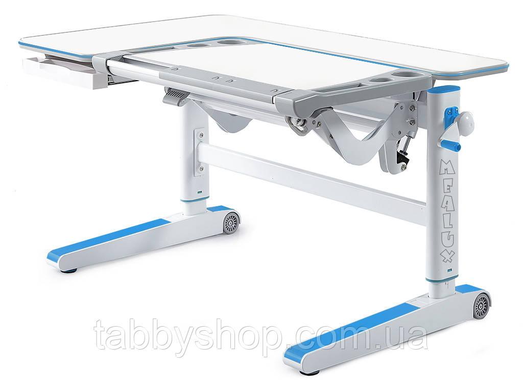 Детский стол Mealux Kingwood W/BL (столешница белая / накладки голубые)