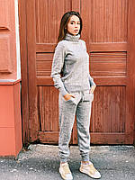 Молодежный теплый женский вязаный костюм, серый, фото 1
