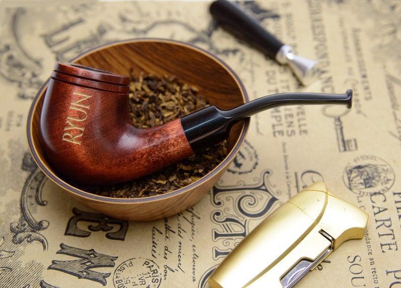 Гравировка на память другу - трубка с фильтром для курения KAF232 Bent из дерева груши