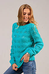 Элегантный вязаный женский свитер Снежинка мятный крупной ажурной вязки