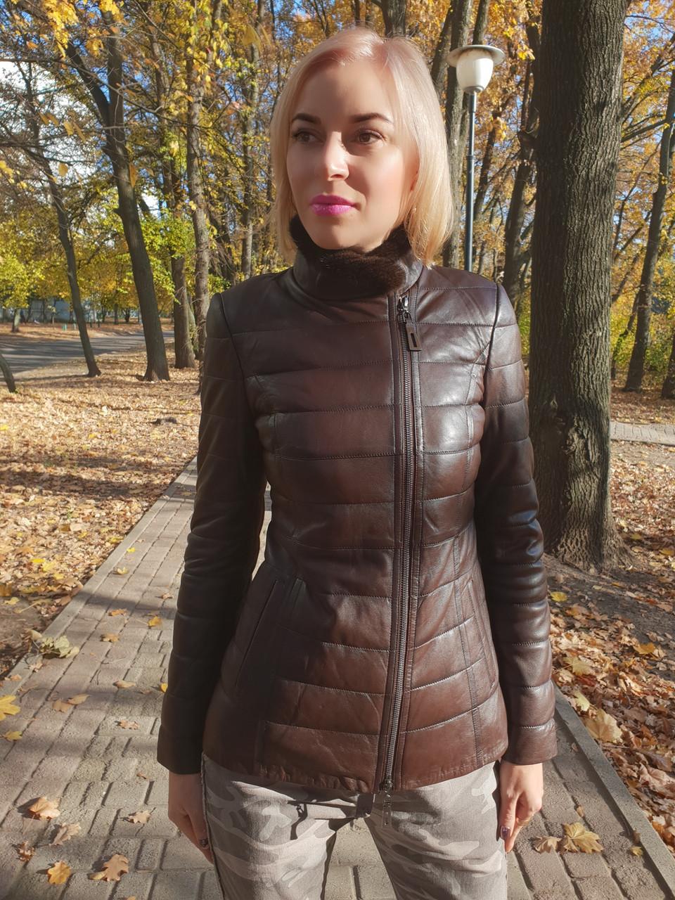 Женская утепленная кожаная куртка