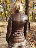 Женская утепленная кожаная куртка, фото 3