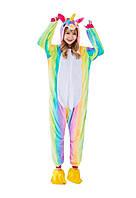 Пижама кигуруми комбинезон теплая качетственная радужний Единорог