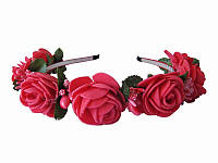 Обруч Коралловая роза большой (Украинские венки, обручи, заколки)