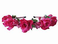Обруч Малиновая роза малый (Украинские венки, обручи, заколки)