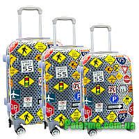 Набор пластиковых чемоданов на колесах (комплект из трех чемоданов) Знаки, фото 1