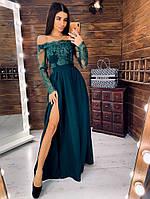 Зеленое элегантное платье макси с кружевным верхом