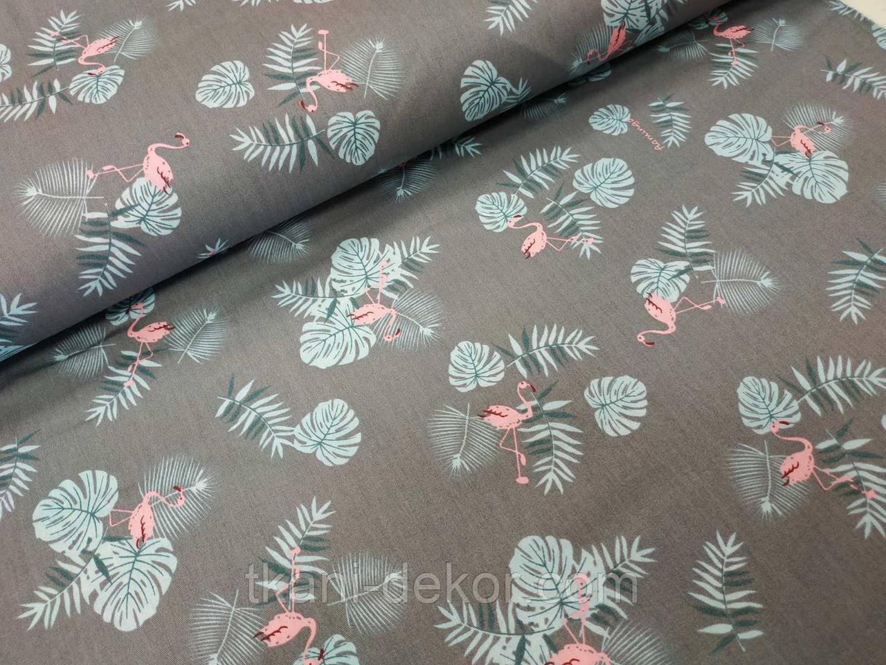 Сатин (бавовняна тканина) фламінго і пальмове листя на сірому тлі