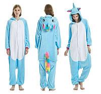 Пижама кигуруми комбинезон теплая качетственная голубой Единорог