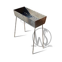 Мангал-чемодан на 10 шампуров, 2 мм. разборной, складной, переносной, компактный для шашлыка и гриля
