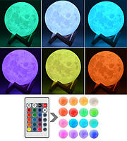 Большой Светильник 3D Луна 15см 16 цветов + пульт ДУ Детский настольный светильник ночник 3D