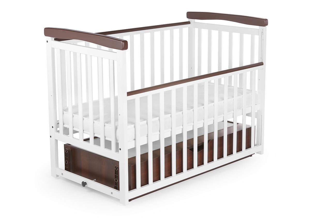 """Дитяче ліжечко """"Човник"""" NEW Bimbi color опускний бік, маятн c ящиком Біла"""
