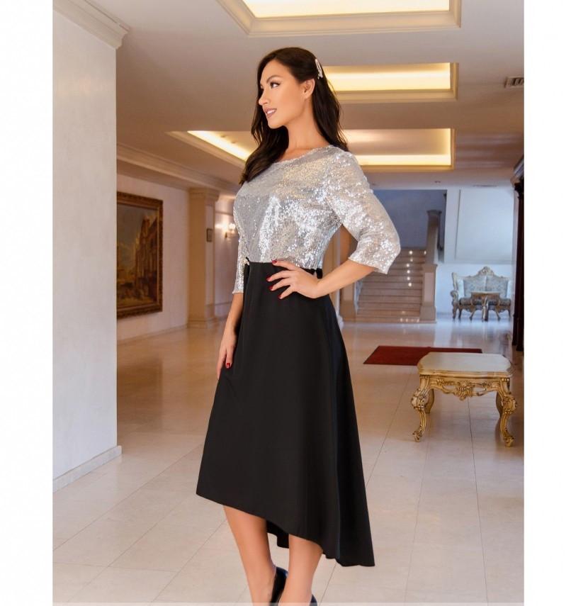Яркое, блистательное и очень стильное платье №743Н-серебро