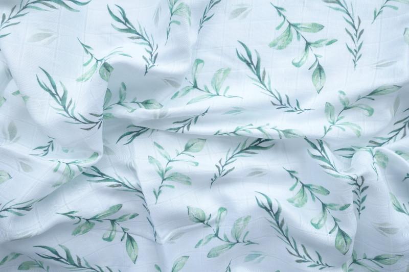 Муслиновая пеленка «Зелёные листики» (бамбук)