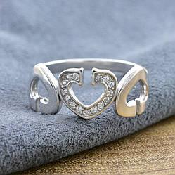 """Серебряное кольцо """"Симфония любви"""", вставка белые фианиты, вес 2.58 г, размер 19"""