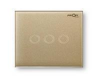 Выключатель сенсорный Profitherm (Профитерм) 3 TP, Pure Gold с тремя сенсорными кнопками