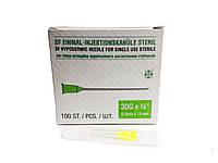Голка ін'єкційна одноразова стерильна SF Medical (уп 100 шт) 30Gх1/2 (0.3*13 мм)