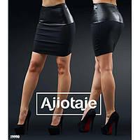 Стильная женская юбка мини из эко-кожи и трикотажа