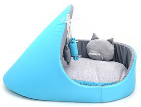 Лежак тапок для собак и котов Комфорт лето бирюзовый, фото 2