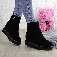 Женские зимние ботинки на танкетке Loopy черные 1355