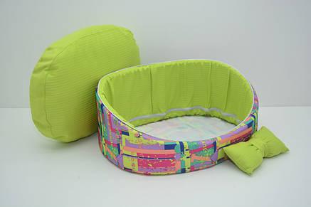 Лежак для собак и котов Акварель №1 320х430х180 салатовый или голубой, фото 2