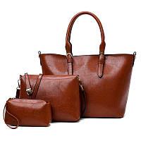 Женская большая сумка из качественой экокожи набор 3в1 опт, фото 1