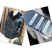 Куртка женская из экокожи, есть большие размеры, на меху внутри, с меховым воротником OS